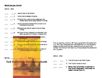 Tuck Everlasting Anticipation Guide