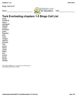 Tuck Everlasting BINGO Ch 1-5 Vocab