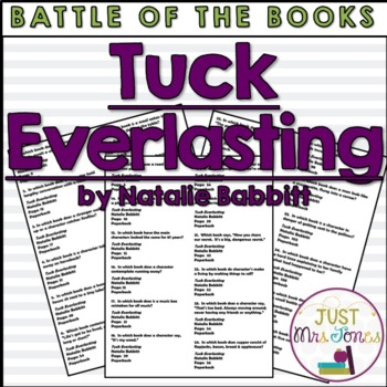 Tuck Everlasting Battle of the Books Trivia Questions