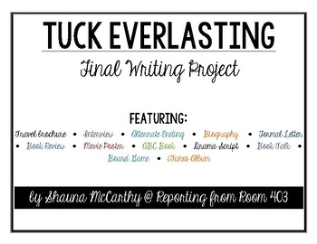 Tuck Everlasting Book Menu Final Project - HALF OFF for the first 24 hours!