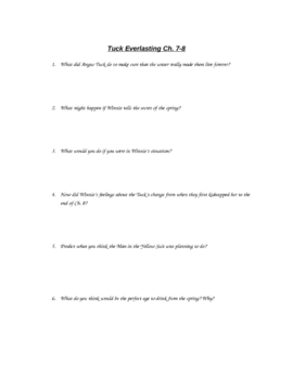 Tuck Everlasting Chapter Questions
