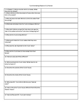 Tuck Everlasting Chapters 5-12 Study Guide