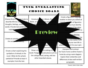 Tuck Everlasting Choice Board Novel Study Activities Menu Book Project