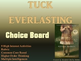 Tuck Everlasting Choice Board Novel Study Activities Menu