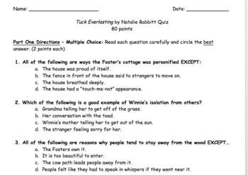 Tuck Everlasting Comprehension Quiz