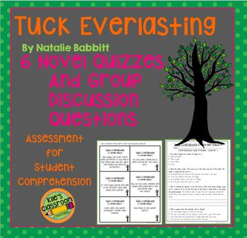 Tuck Everlasting Comprehension Quiz and Group Discussion Cards