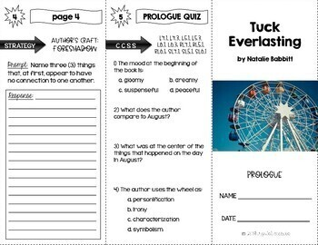 Tuck Everlasting Comprehension Trifolds for Chapters 1-5