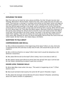 Tuck Everlasting Discussion Guide