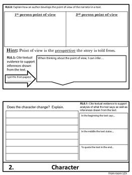 Tuck Everlasting Elements of Fiction Flip Chart Graphic Organizer Foldable