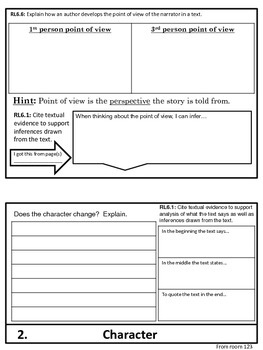 Tuck Everlasting Elements of Fiction Flip Chart Graphic Organizer Foldable