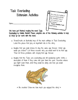 Tuck Everlasting Extension Activity Options