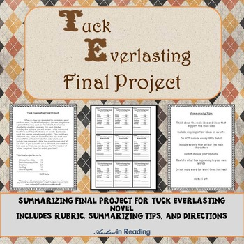 Tuck Everlasting Final Project - Students Will Do PowerPoint Summary - w/Rubric