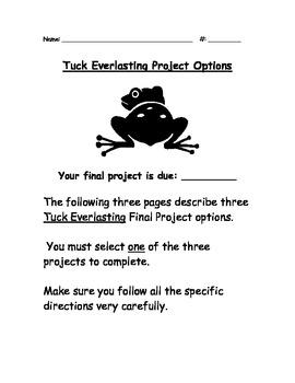 Tuck Everlasting Final Writing Assesment Options