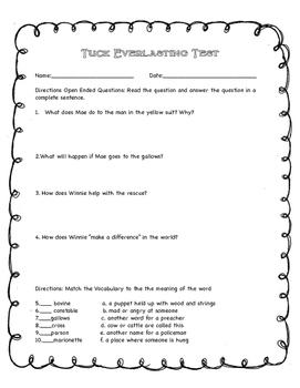 Tuck Everlasting Fourth Grade Novel Study Test