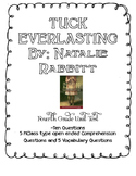 Tuck Everlasting Fourth Grade Novel Study Test