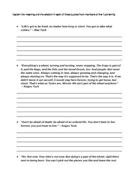 Tuck Everlasting Literature Circle Packet