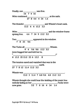 Tuck Everlasting Math Connection chp 24