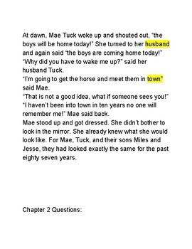 Tuck Everlasting Modified for ENL Learners/Struggling Readers