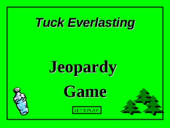 Tuck Everlasting Novel Jeopardy Game