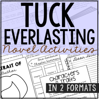 Tuck Everlasting Novel Study Activities, Book Report, Vocabulary