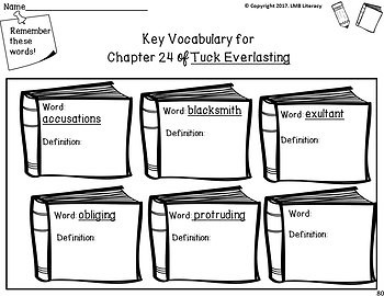Tuck Everlasting Novel Study~Comprehension, vocab, activities and answer key!