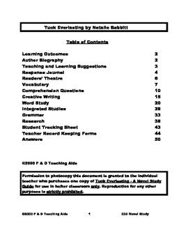 Tuck Everlasting Novel Study Guide