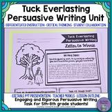 Tuck Everlasting Persuasive Writing Unit