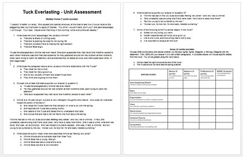 Tuck Everlasting Post Assessment - Text Dependent Questions + Essay