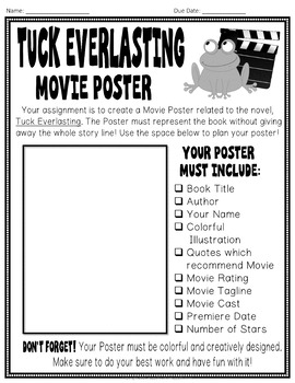 Tuck Everlasting Project: Make a Movie Poster! (Tuck Everlasting Book Report)