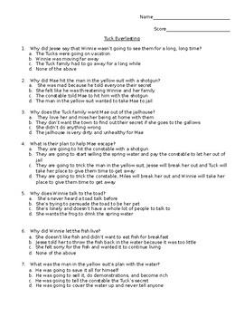 Tuck Everlasting Quiz