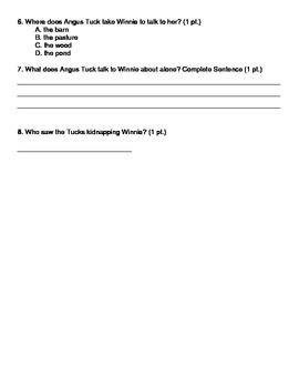 Tuck Everlasting Quiz Chapters 6-13