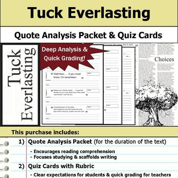 Tuck Everlasting - Quote Analysis & Reading Quizzes