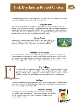 Tuck Everlasting  Projects and Activities