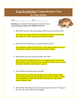 tuck everlasting novel unit quiz by wise guys teachers Tuck Everlasting Book Tuck Everlasting Question Answers