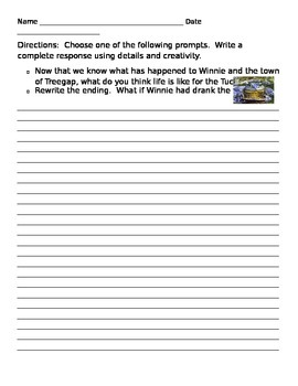 Tuck Everlasting Rewrite Activity