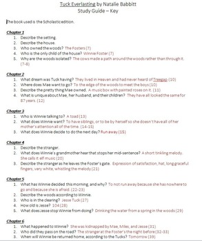 Tuck Everlasting Study Guide with Key