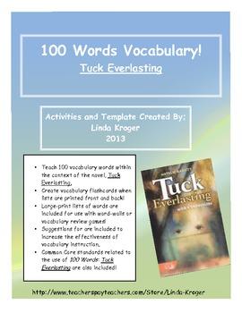 Tuck Everlasting!-Teach Vocabulary with 100 Words Flashcards!