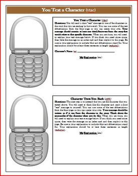 Tuck Everlasting Text Message Comprehension Activity Common Core