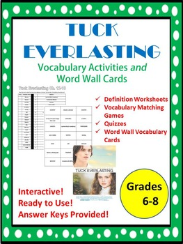 Tuck Everlasting Vocabulary Activities and Word Wall Cards