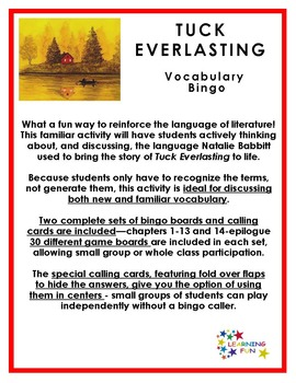 Tuck Everlasting Vocabulary Bingo