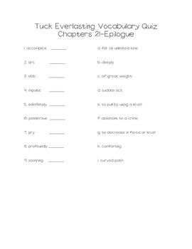 Tuck Everlasting Vocabulary (Common Core Aligned)