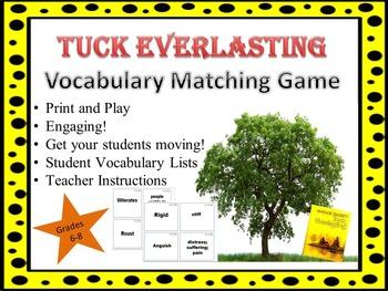 Tuck Everlasting Vocabulary Matching Game