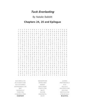 Tuck Everlasting Vocabulary Word Search Chapters 24, 25 and Epilogue