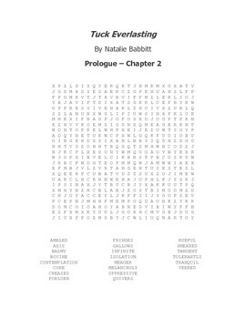 Tuck Everlasting Vocabulary Word Search Prologue - Chapter 2