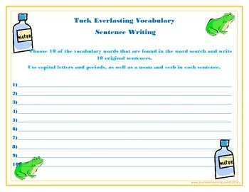 Tuck Everlasting Word Search & Sentences