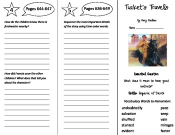 Tucket's Travels Trifold - Journeys 5th Grade Unit 5 Week 1 (2014, 2017)
