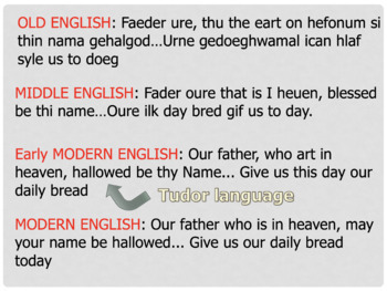 Tudor / Elizabethan Language and Dialects PowerPoint & Worksheet