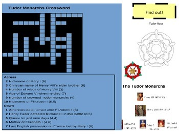 Tudor Monarchs Crossword
