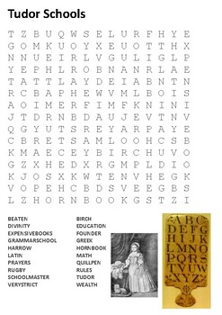 Tudor Schools Word Search