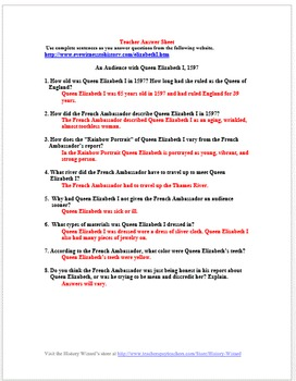 Tudors: An Audience with Queen Elizabeth I Primary Source Worksheet